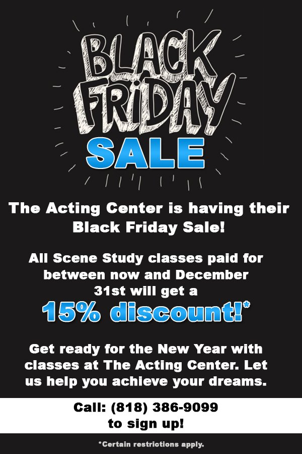 Black Friday Sale! - 15% Discount at The Acting Center