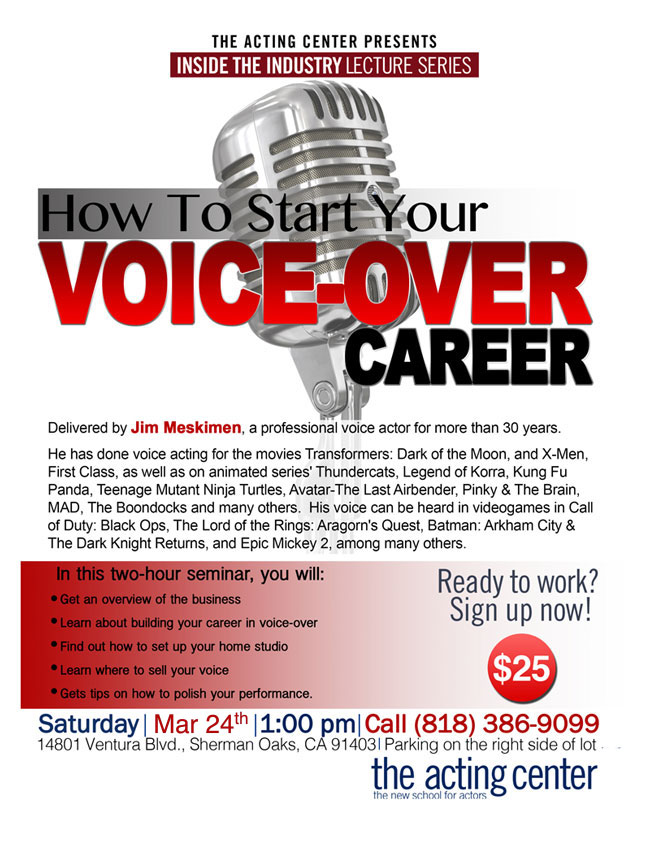 How To Start Your Voice-Over Career - The Acting Center - March 24, 2018 1pm