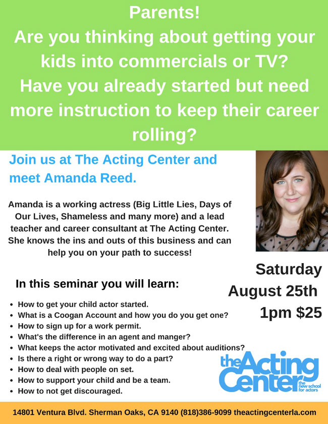 Career Seminar for Parents Thinking About Getting Their Kids into Commercials, Film or TV